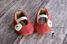 Pink Rose Fabric Baby Girl Booties/Mary Janes/Shoes  - Size 0 to 3 Months. $16.00, via Etsy.