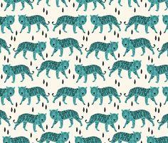 Tigers - Cream/Tiffany Blue fabric by andrea_lauren on Spoonflower - custom fabric