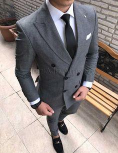 İtalyan kesim erkek ceket pantolon desenli kruvaze takım elbise T1714