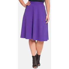 Plus Size Women's ELOQUII Ponte Circle Skirt ($47) ❤ liked on Polyvore featuring skirts, plus size, flared skirt, plus size skater skirt, purple skater skirt, ponte skirt and womens plus size skirts