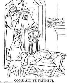 printable nativity coloring page to cut out and make your own ... - Nativity Character Coloring Pages