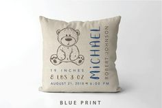 Your place to buy and sell all things handmade Teddy Bear Birth Stats Pillow Bear Nursery, Unique Baby Shower Gifts, Baby Pillows, Throw Pillows, Textiles, A 17, Making Ideas, Personalized Gifts, Baby Boy