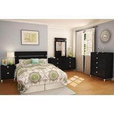 Spark 2-Drawer Nightstand, Pure Black Sleigh Bedroom Set, Bedroom Sets, Bedroom Colors, Bedroom Decor, Master Bedroom, Bedrooms, Black Gold Bedroom, Black Bedroom Furniture, Kitchen Furniture