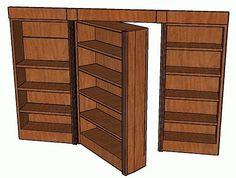 Hidden-Pivot Bookcase Door Here are detailed drawings for a nifty swinging-bookcase hidden door. Hidden Spaces, Hidden Rooms, Bookshelf Door, Bookshelves, Bookcase Plans, Secret Rooms, Hidden Storage, Secret Storage, Home Projects
