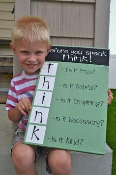 think before you speak sign wood painted green chalkboard white crafts classroom teacher home decor inspiration hand made creative ideas