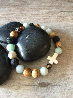 Excited to share the latest addition to my #etsy shop: Amazonite +  jasper- lava aromatherapy bracelet , cross bracelet , diffuser bracelet , essential oil bracelet