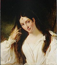 "Painting (1831), by François Bouchot (1800-1842), of Maria García Sitches, Mrs Malibran (1808-1836), as Desdemona, in ""Otello"" (1816), by Gioacchino Rossini (1792-1868)."