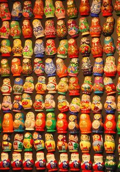 A person that does not like colour is like a day without the sun.  Russian dolls sold commonly in Prague Old City in Czech Republic.