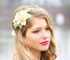 ring of flowers in hair wedding   Hippie Floral Wedding Headbands Down Hair   Bridal Flower Headbands ...
