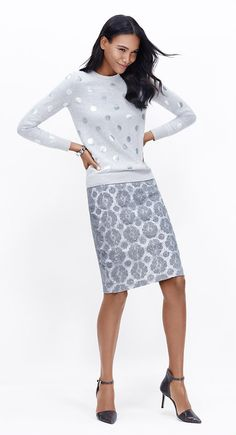 Must-Have Look: Pair a casual sweater with a lace pencil skirt in cool grays for a fun festive look.