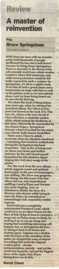 Springsteen at the Point. Review: Daily Telegraph UK 26.5.05