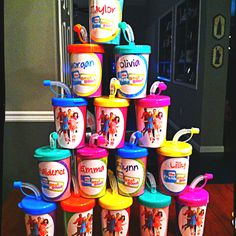 Fresh beat band personalized party favor cups.
