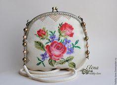 "Купить Сумочка ""Розочки"". - кремовый, роза, сумочка, сумочка вышитая, бисерная сумочка, сумочка с фермуаром"