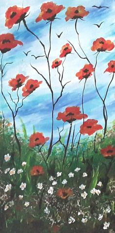 Box Canvas Red Poppy Painting Orignal Poppy Artwork Surreal Floral Acrylic Painting Living Room Home Decor Colorful Art Promotion Team Gift Team Gifts, Rooms Home Decor, Living Room Paint, Red Poppies, Art Therapy, Handmade Crafts, Home Gifts, Surrealism, Poppy