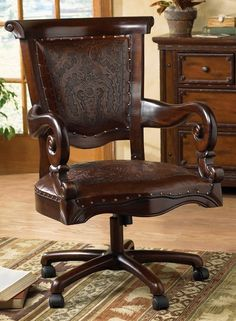 Tooled Leather Western Desk Chair.....would have to be in same color as desk of course.