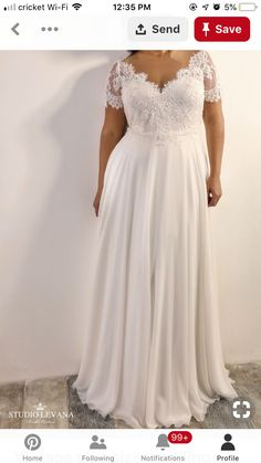 Vintage plus size wedding dress with short sleeves and chiffon skirt. Vintage plus size wedding dress with short sleeves and chiffon skirt. Plus Size Wedding Dresses With Sleeves, Informal Wedding Dresses, Informal Weddings, Rustic Wedding Dresses, Colored Wedding Dresses, Plus Size Dresses, Vintage Weddings, Wedding Ideas, Curvy Wedding Dresses