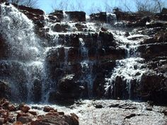 This is the Beautiful Waterfall below the spillway of Goose Creek Lake inside the Resort in French Village, Missouri