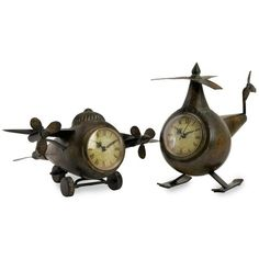 IMAX Corporation Lindbergh Aviation Clocks (Set of 2) ($93) ❤ liked on Polyvore featuring home, home decor, clocks, mantel clocks, mantel-clock, wrought iron clock and wrought iron home decor