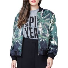 Rachel Rachel Roy Plus Printed Long Sleeve Bomber Jacket ($169) ❤ liked on Polyvore featuring plus size women's fashion, plus size clothing, plus size outerwear, plus size jackets, green, plus size, green flight jacket, green zip jacket, green jacket and bomber style jacket