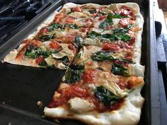 [homemade] Thin crust Artichoke and spinach pizza that i made for lunch. #food #foodporn #recipe #cooking #recipes #foodie #healthy #cook #health #yummy #delicious