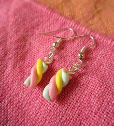 Marshmallow earrings polymer