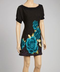 Take a look at this Black Braided Rose Tunic Dress by Fantazia on #zulily today!40
