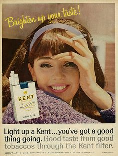 1965 Ad, Kent Cigarettes, with Pretty Brunette Girl