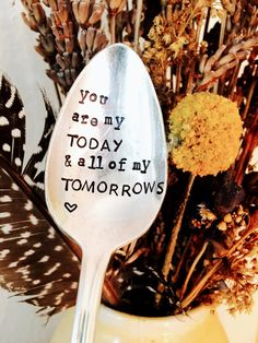 You Are My Today and All Of My Tomorrows Stamped Spoon, Stamped Silver Coffee Spoon, Wedding Gift, Love You Gift, Husband Anniversary Gift
