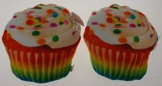Lot 2 Cupcake Pillows White Icing Rainbow Food Fight Sprinkles Soft Kids Decor