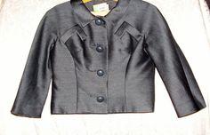 Saks Fifth Avenue Vintage Bolero Style Jacket Size 10 Figurine Size Black
