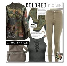 """""""Spring Trend: Colored Denim"""" by beebeely-look ❤ liked on Polyvore featuring Hogan, Topshop, American Coin Treasures, Burberry, Urban Decay, Bobbi Brown Cosmetics, StreetStyle, edgy, sammydress and Gogreen"""
