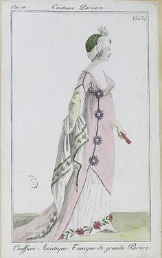 An 10 = Journal des Dames et des Modes, I really love this one, too! The pink gown with the purple trim and flowers is a lovely combination, plus I love the styling of the asymmetrical tunic. cute turban, too! 1800s Fashion, 18th Century Fashion, Victorian Fashion, 19th Century, Jane Austen, Regency Dress, Regency Era, English Fashion, French Fashion