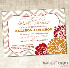 fall bridal shower invitation autumn wedding shower printable file via