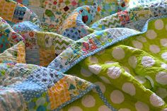 Dover & Madden hand made quilt for a young girl.  I love the green polka dot backing!