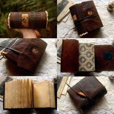 Manuscript Writing Beautiful Leather Binding Vintage Hand Made Blank Book