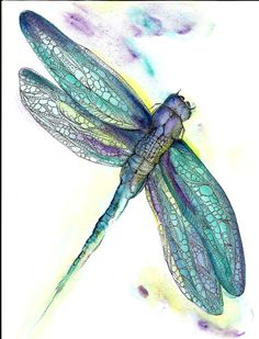Instant Download Art Print Dragonfly Purple Blue by ChubbyMermaid