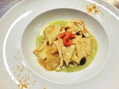 Testaroli Pasta with Squid, Taggiasca Olive Rosmarin and Lemon crumble Testaroli con Calamaretti olive Taggiasche e crema al rosmarino