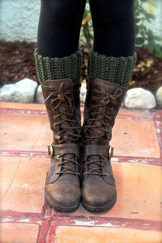 Dark Green Boot Cuff Crochet Boot Socks Cuffs Chunky Boot Toppers Leg Warmers Boot Liners Women's Handmade