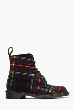 Beckett 8 Eye Boot in tartan plaid Tartan Fashion, Look Fashion, Fashion Shoes, Sock Shoes, Cute Shoes, Me Too Shoes, Galaxy Converse, Doc Martens, Bootie Boots