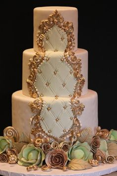 Ornately Piped Pink and Gold Cake, Craftsy