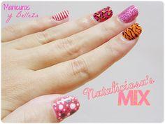 Nail art de diseños mix concurso Nataliciosa Nails Manicura animal print leopard tiger flowers roses sailor dots estampado animal leopardo t...