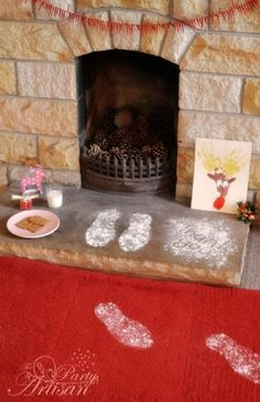 for those with kids putting out milk and cookies...cute footprints and thank you message from Santa...
