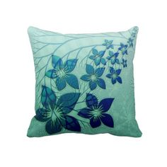 Unique, trendy, decorative and pretty pillow. With beautiful abstract light and dark blue, teal and turquoise colored flowers pattern. For the decor trend setter, the nouveau modern retro deco style lover or interior designer. Cute girly girl's, kid's, mom's birthday present, Mother's day, or Christmas gift. Original, cool and fun art for the master or children's bedroom, nursery, living or family room, cabin, beach house, country cottage or vacation home.
