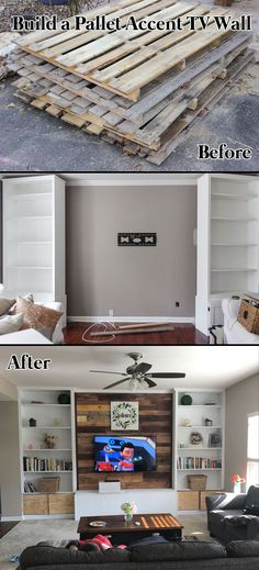 Build a Pallet Accent TV Wall #tvstand #palletprojects #remodeling
