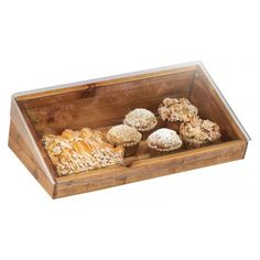 Madera Bin with Lid Item: 1332-12-99 and 1332-12-INSERT (Liner) Display and serve baked goods, snacks, and more with this unique Madera Bin which features a clear flat-top lid for easy storage. This piece is constructed of reclaimed wood, making each piece different, unique, and one-of-a-kind.