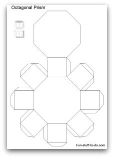 Printable Shapes: Alphabetical list of geometric shapes, nets, patterns and coloring pages to print, cut and fold. Can use to create gift box template for crafts. 3d Geometric Shapes, Geometric Box, 3d Shapes, Printable Shapes, Paper Folding Crafts, Paper Crafts, Church Christmas Decorations, Polygon Shape, Hexagon Patchwork