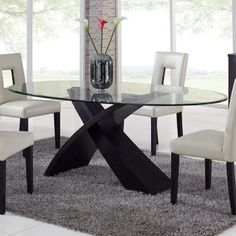 Global Furniture Exclaim Oval Glass Dining Table - modern - dining tables - by Hayneedle