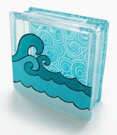 Catch a Wave Glass Block - with instructions.fabric decoupaged on the back & waves painted on the front Painted Glass Blocks, Decorative Glass Blocks, Lighted Glass Blocks, Crafts To Make, Fun Crafts, Paper Crafts, Wood Crafts, Vinyl Projects, Craft Projects