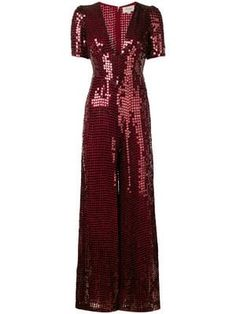 Red sequin heart jumpsuit from Temperley London featuring short sleeves and a deep V neck. Christmas Day Outfit, Big Fashion, Fashion Design, Seventies Fashion, Designer Jumpsuits, Red Jumpsuit, Pants For Women, Clothes For Women, Temperley