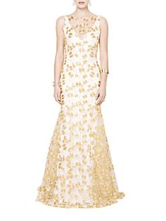 Theia - Embroidered Crepe Gown